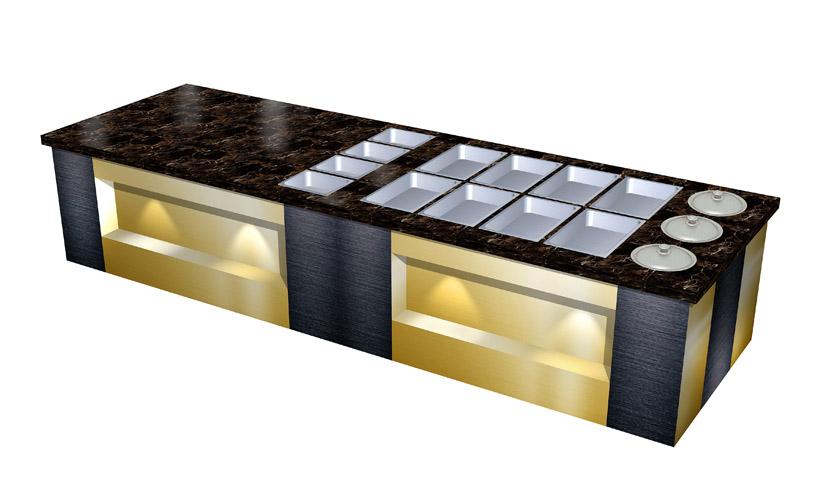 理石台面彩色不锈钢取餐柜